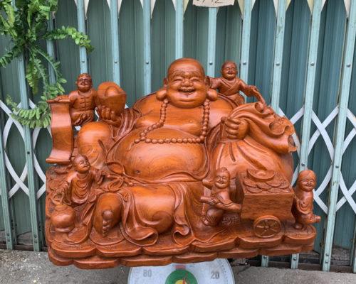 Tượng gỗ đẹp Di lặc ngồi ngũ phúc cực khủng TGGL07C 500x400 - Gửi tượng phật đi Mỹ - Gửi tượng đá đi Mỹ