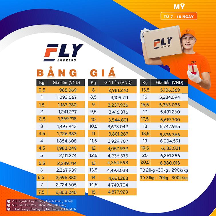 fly Express giá gửi hàng đi mỹ tại đà nẵng 1 - Gửi hàng đi Mỹ tại Hà Nội giá rẻ - uy tín